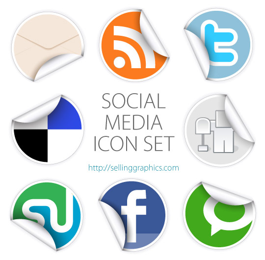 Free vector social media sticker set