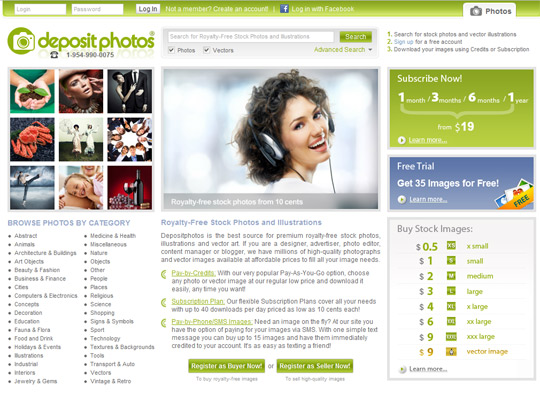 Depositphotos microstock agency homepage