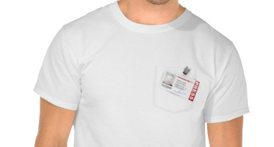 T-shirt with fake press card