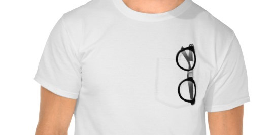 T-shirt with painted pocket and geek's glasses in it.