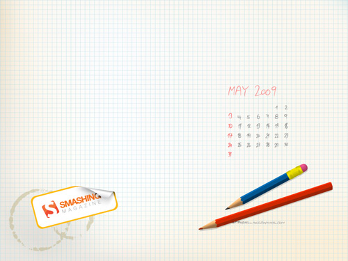 May 2009 desktop wallpaper calendar