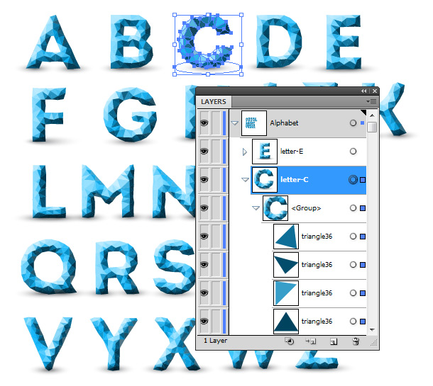 Example of vector glyph alphabet